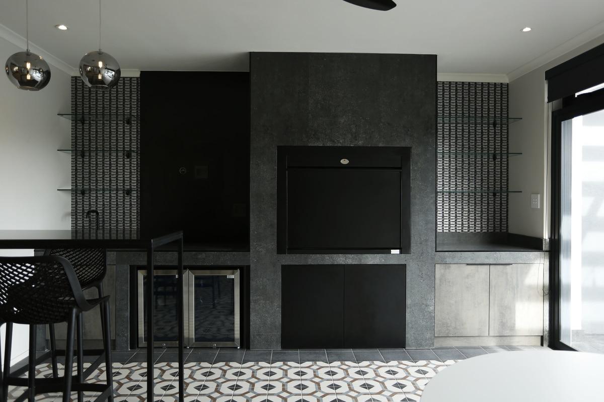 black modern braai room