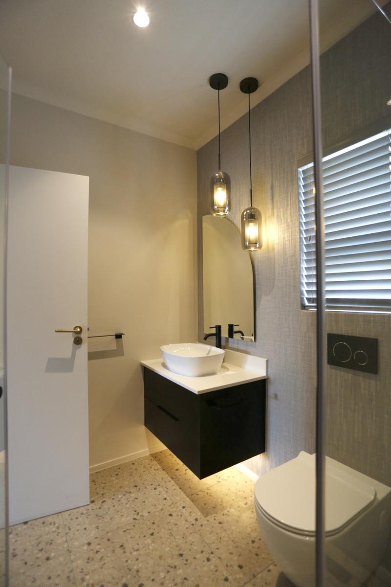 modern bathroom hanging lights matte black vanity