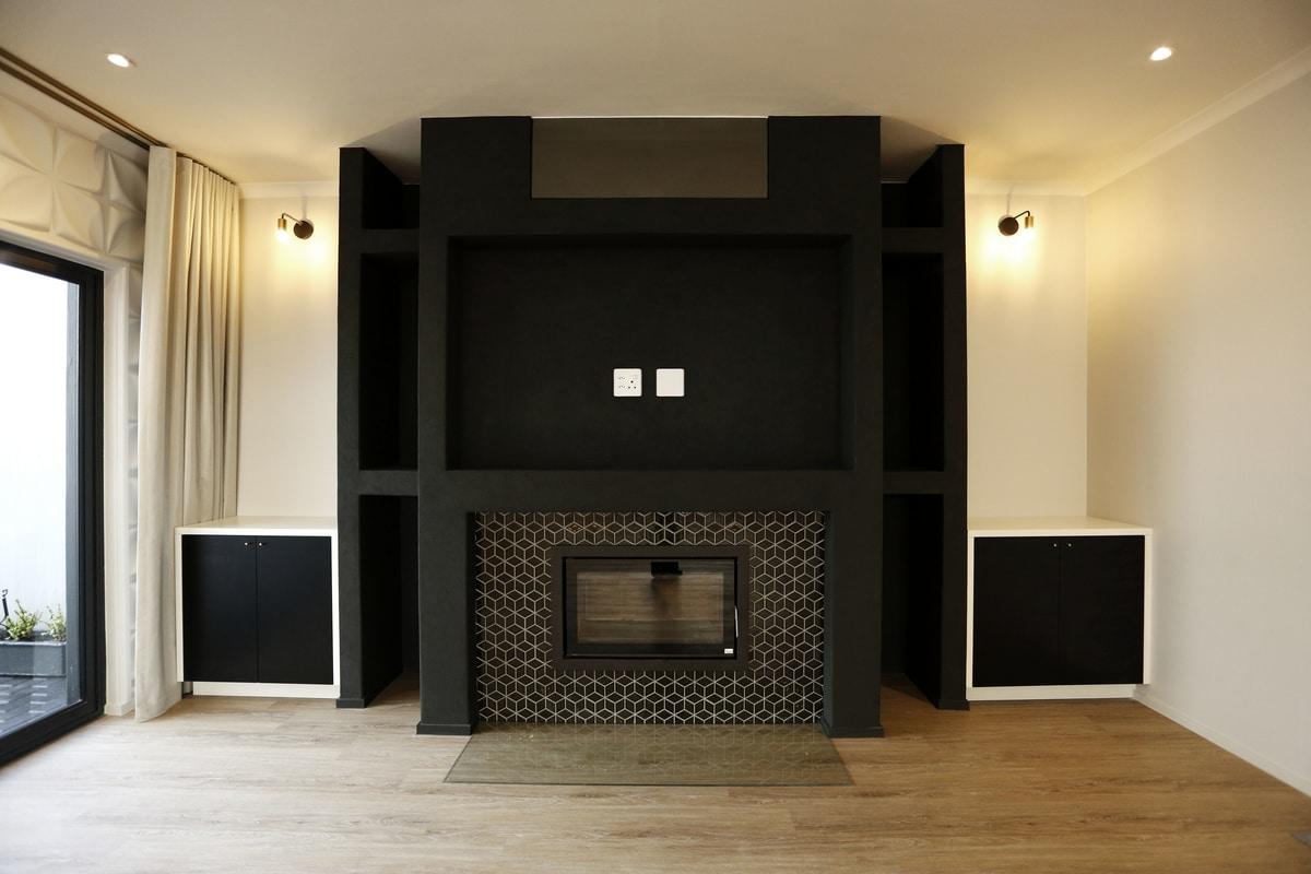 modern fireplace matte black living area wall lights