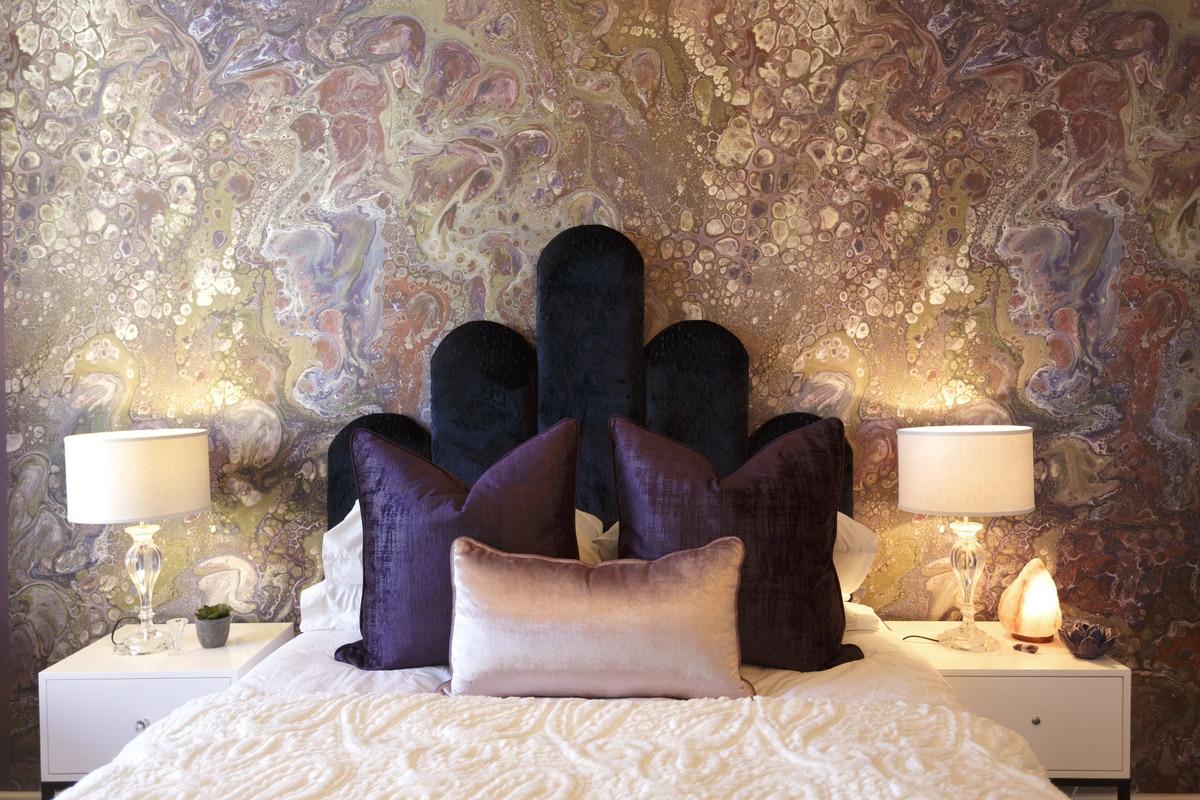 purple girls bedroom crystals gemstones headboard