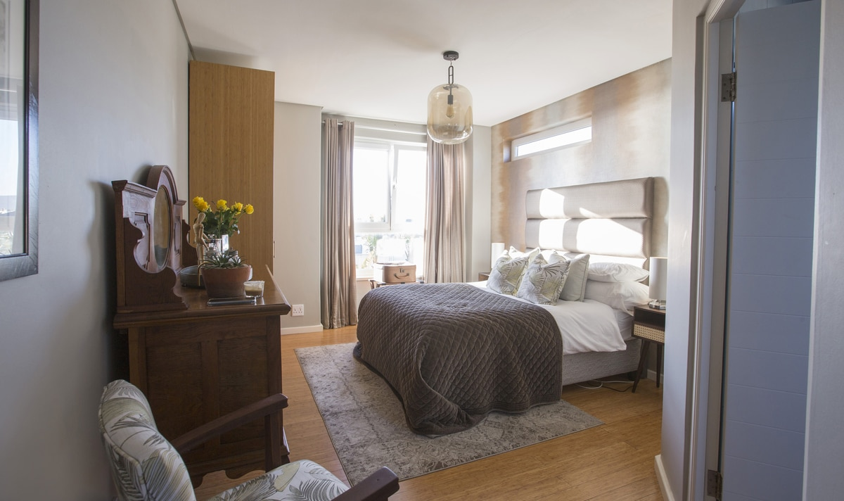 vintage bedroom wood floors vanity