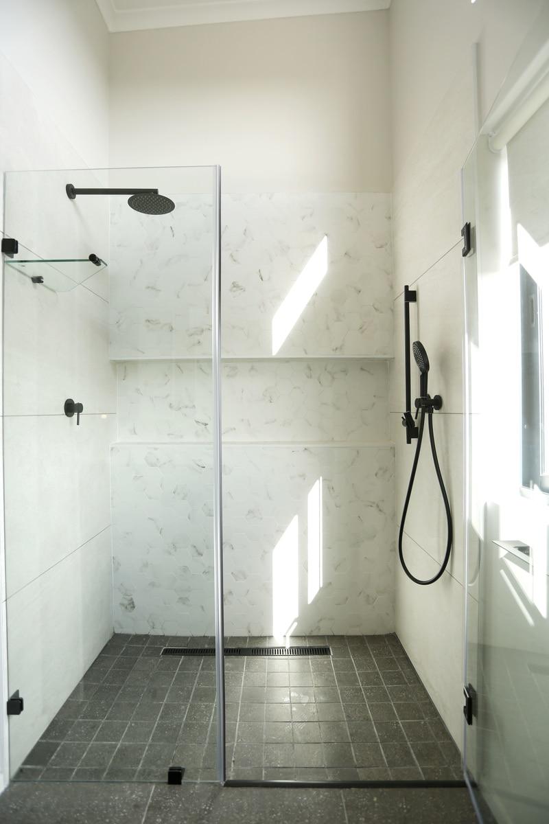 walk in shower matte black shower head