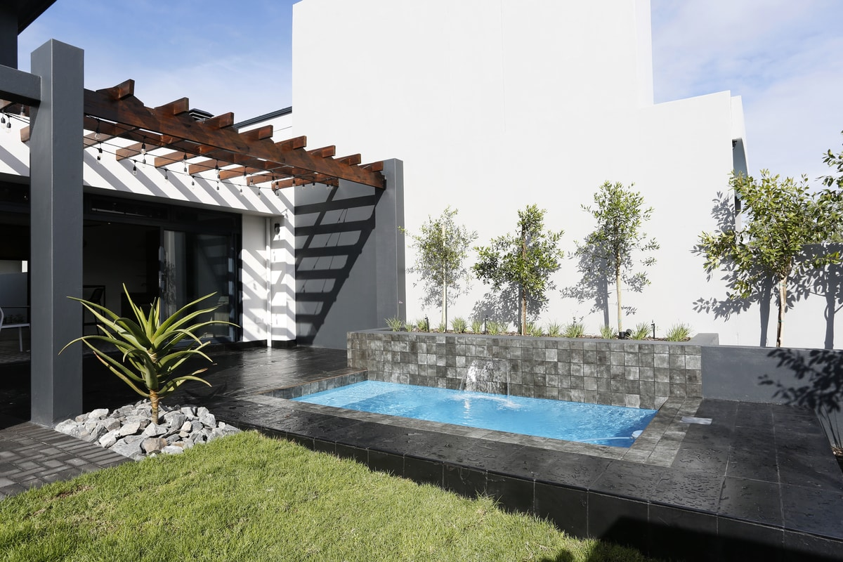 water fountain swimming pool modern outdoor living area