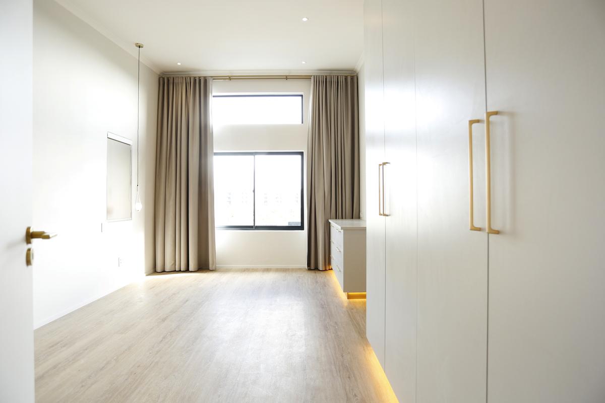 white bedrrom cupboards modern led lights