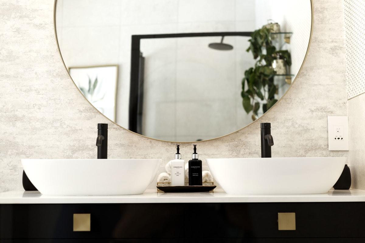 Modern bathroom vanity gold round mirror matte black taps