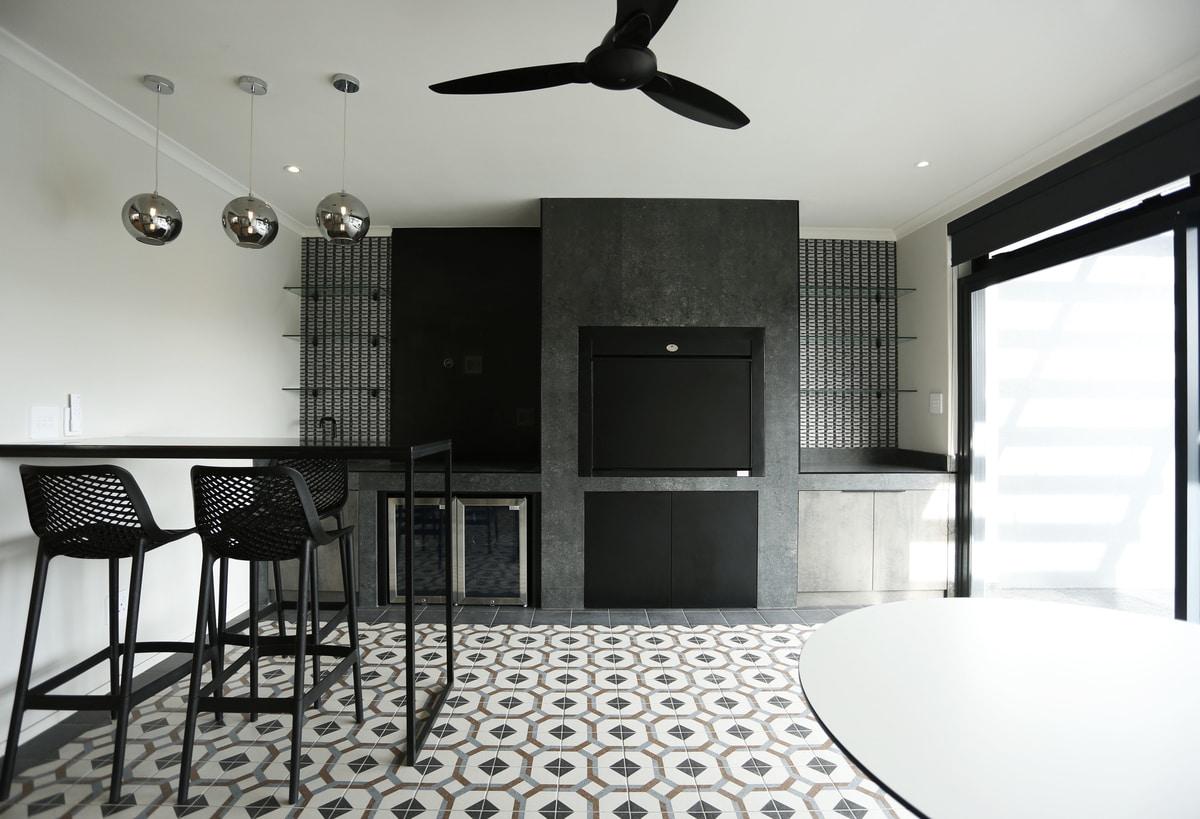 black modern kitchen patio room