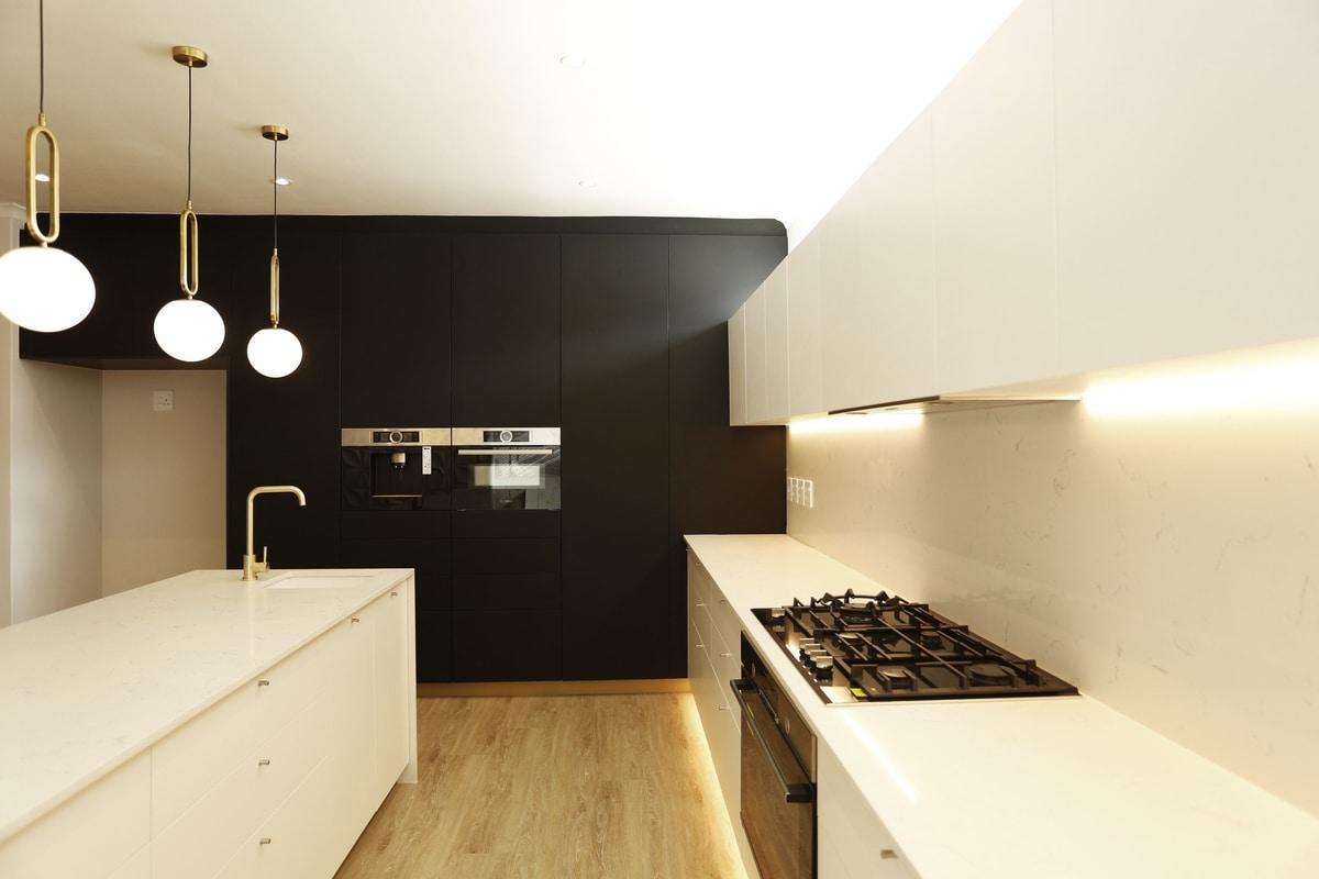 modern retro home with black white modern kitchen gas stove