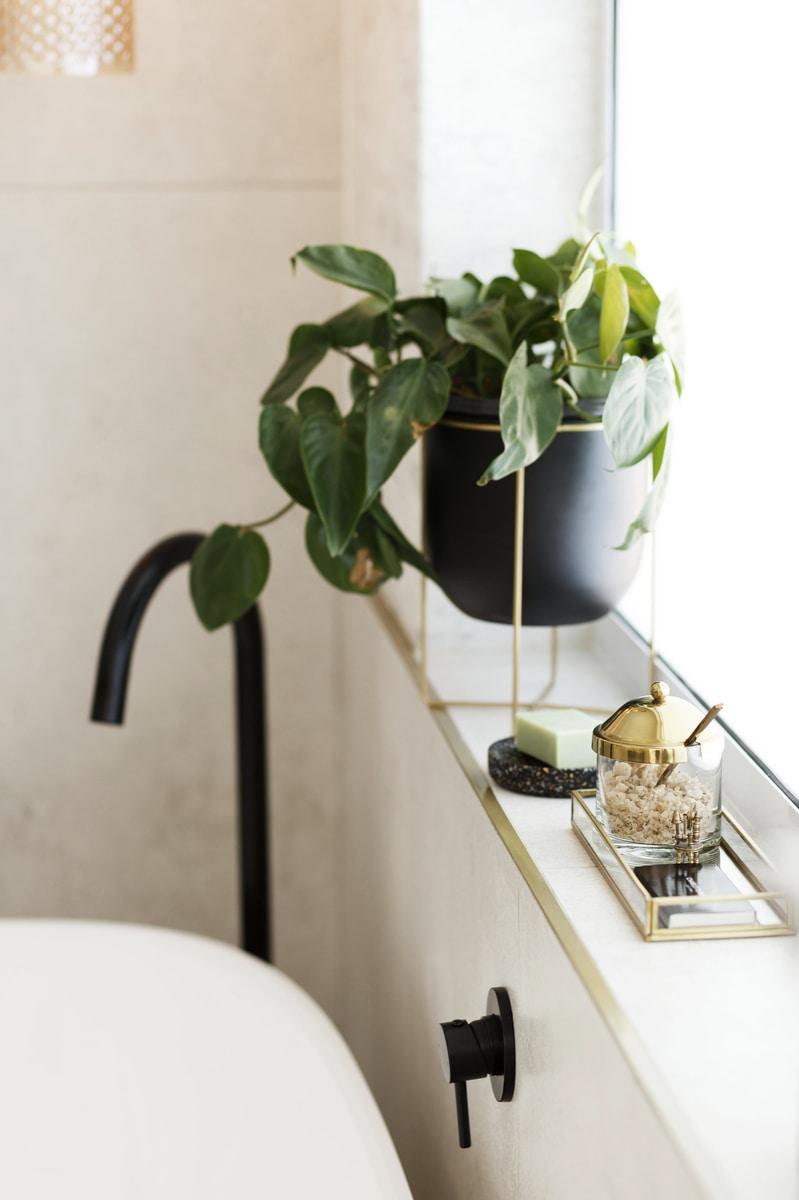 free stranding bathtub matte black tap indoor plants windowsill