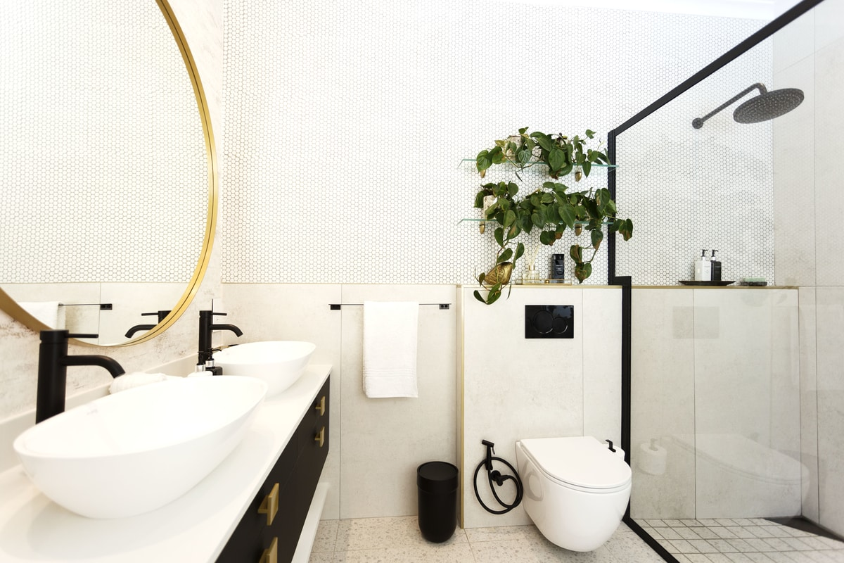 modern black white bathroom renovation