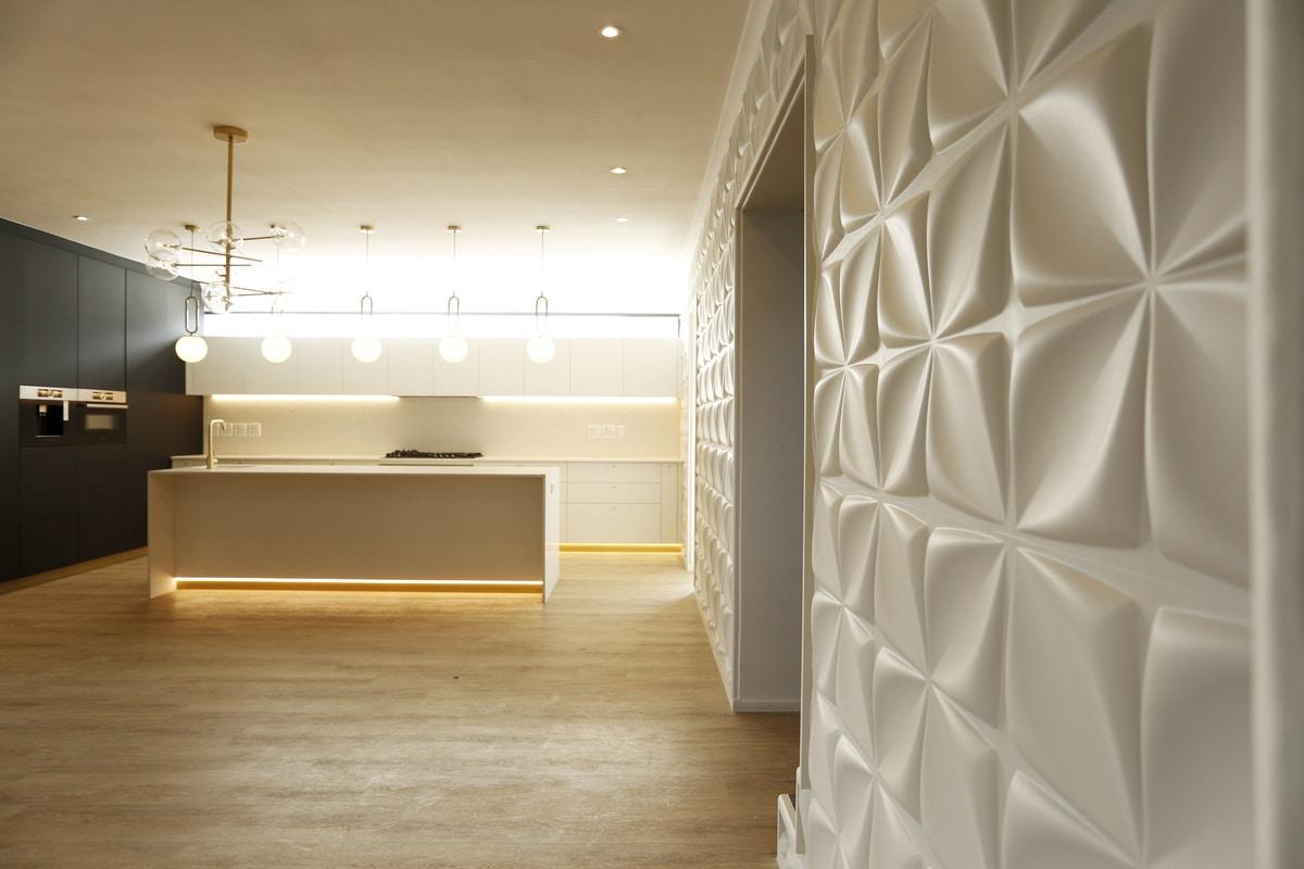 modern retro textured feature fall modern kitchen
