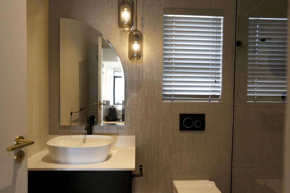 warm cream bathroom pendent lighting
