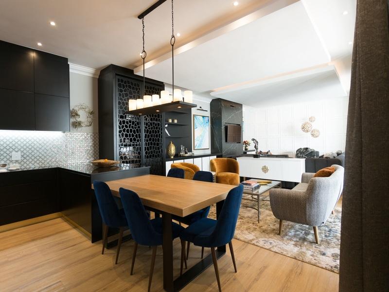 modern living area navy blue chairs black modern kitchen